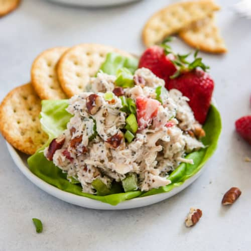 Strawberry Chicken salad on plate with crackers.