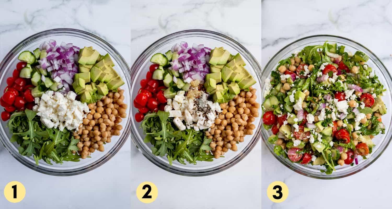 Steps to make chickpea avocado salad recipe.