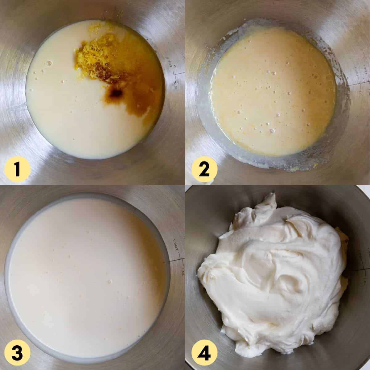 Condensed milk, lemon, heavy whipping cream in mixing bowl.