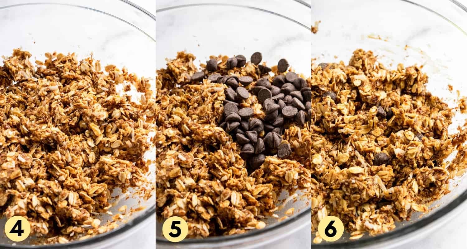 Oats and peanut butter in mixing bowl with chocolate chips.