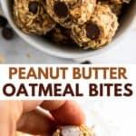 peanut butter oat bites in bowl.