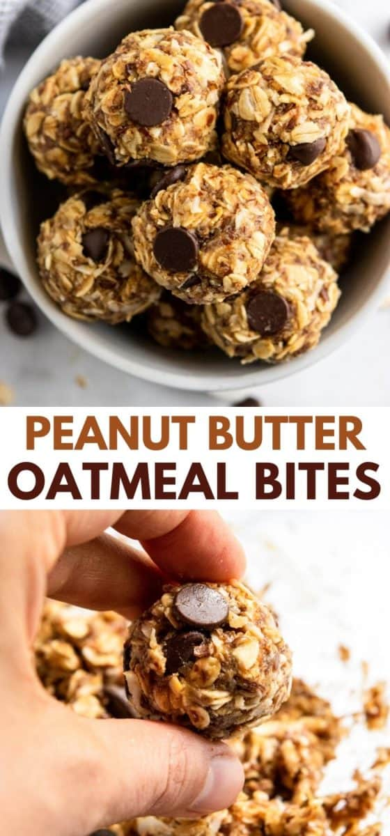 peanut butter oat bites in bowl.