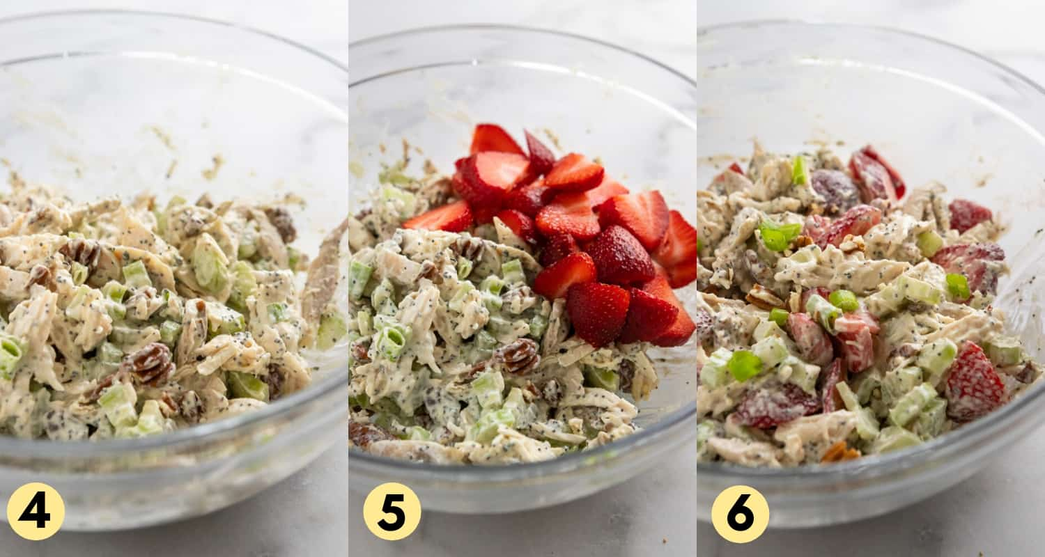 Strawberries added to chicken salad in mixing bowl.