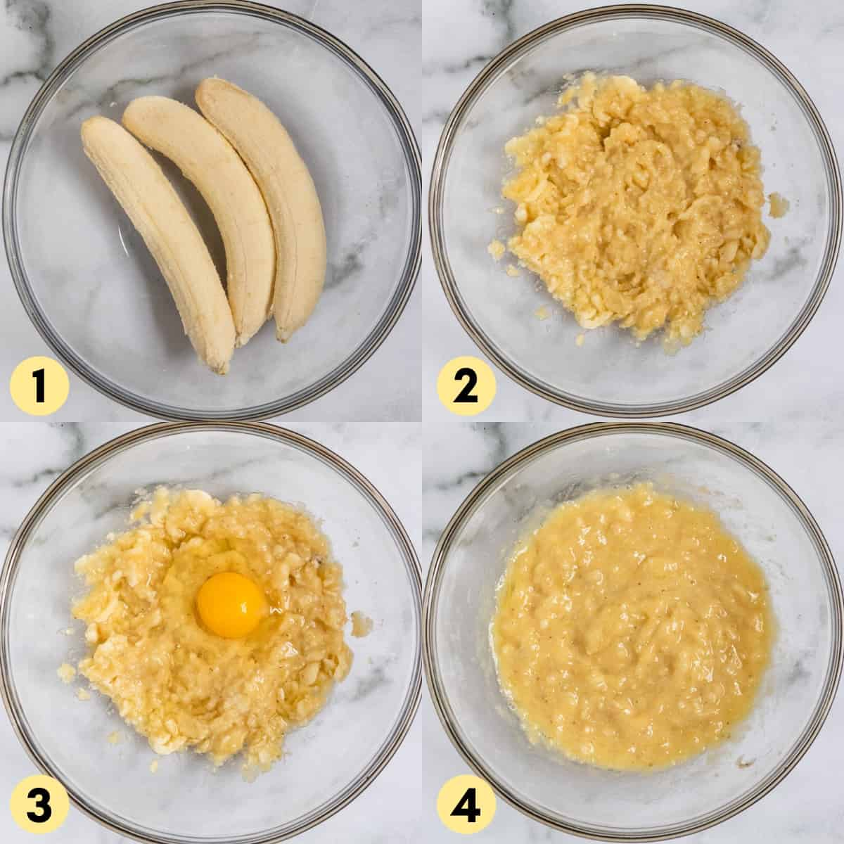 Bananas mashed in mixing bowl with egg.