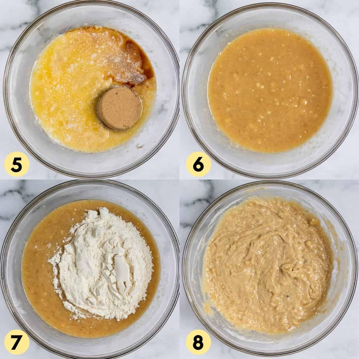 Brown sugar, vanilla and flour in banana bread batter in medium bowl.