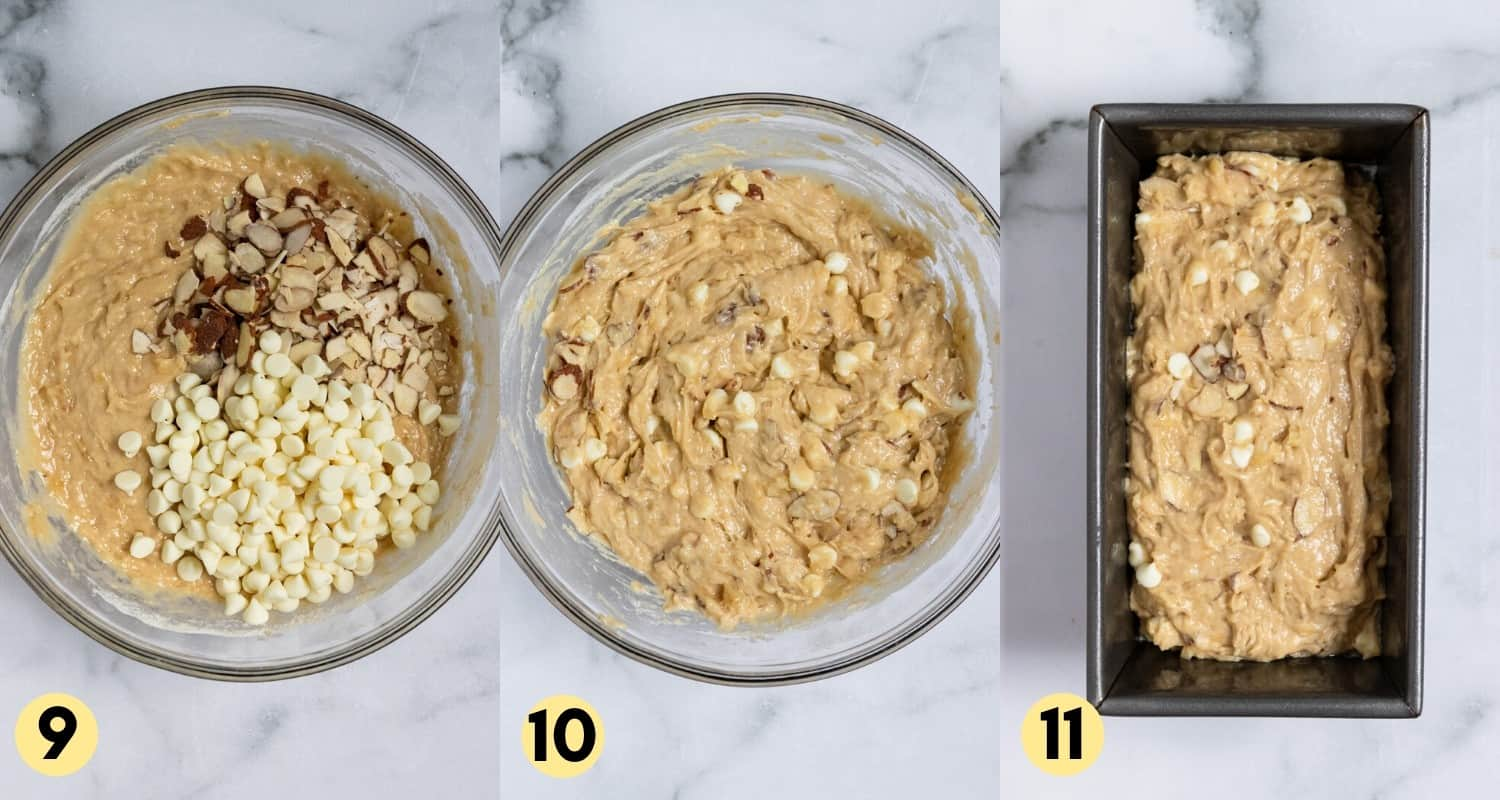 White chocolate chips and almonds in bowl of batter.