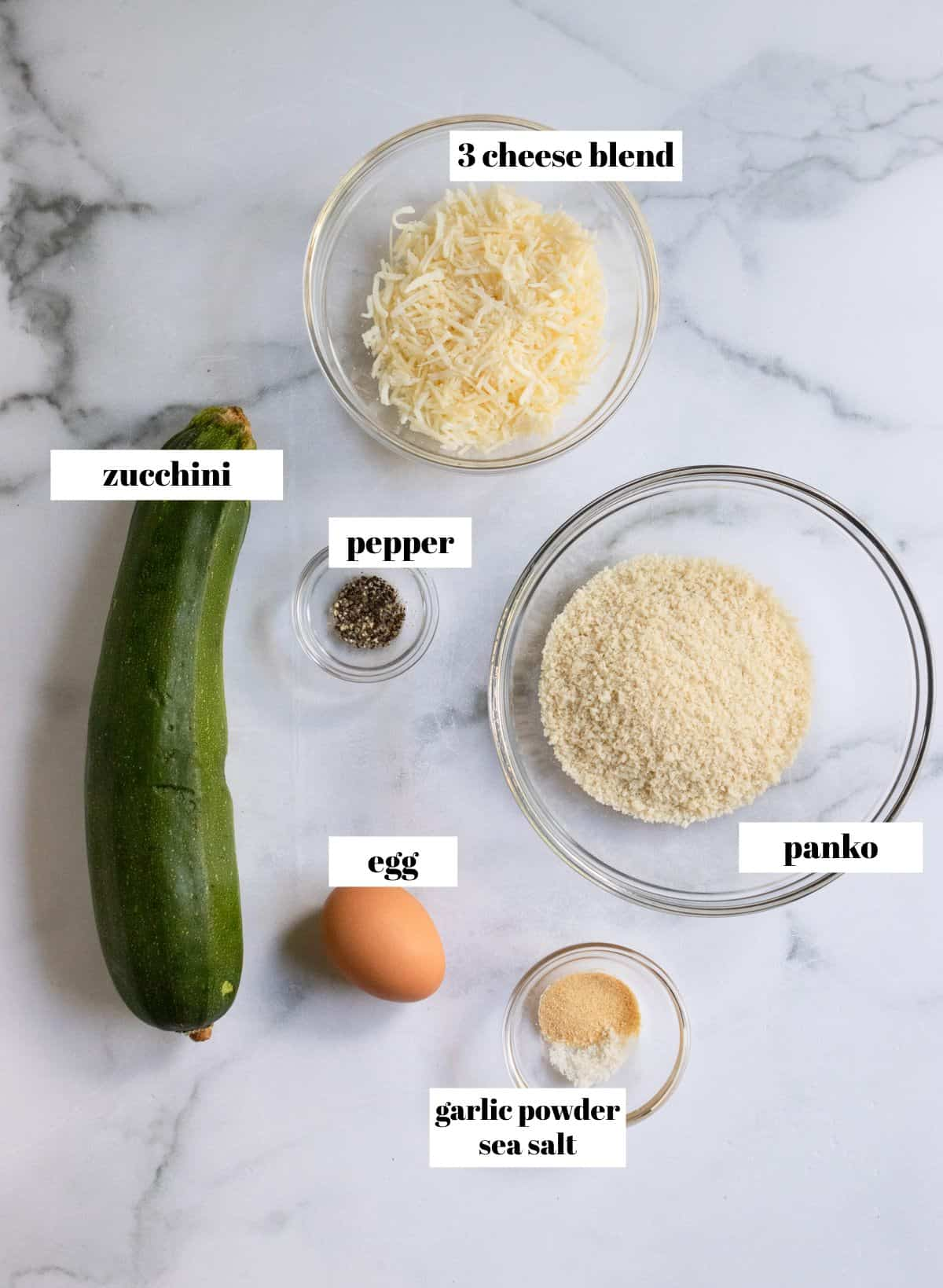 Labeled ingredients needed for recipe.