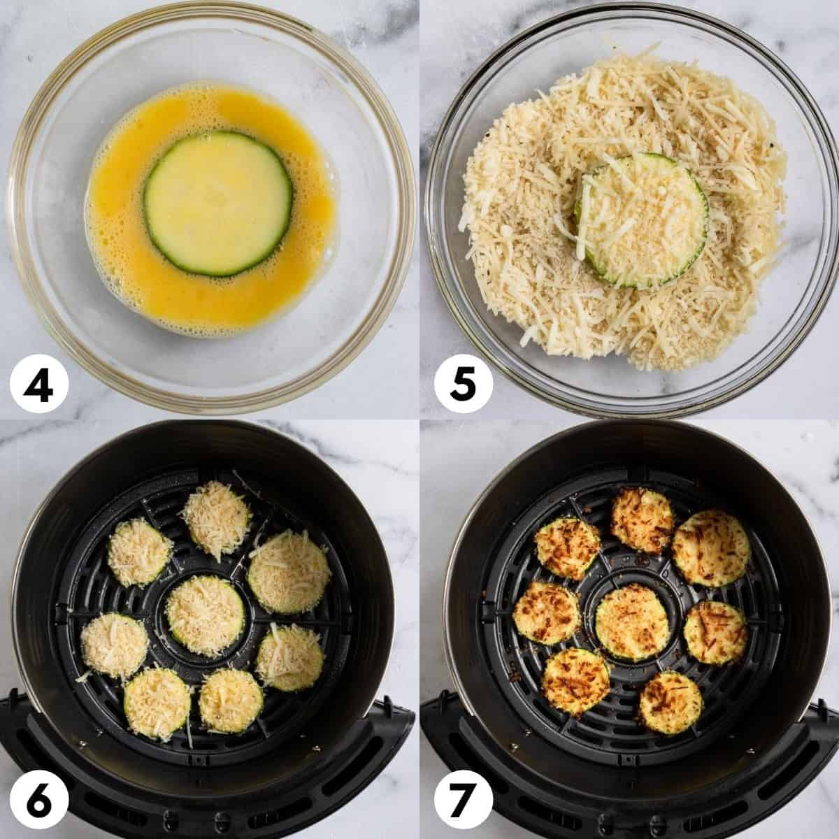 Zucchini dipped in egg and then in cheese and panko mixture.