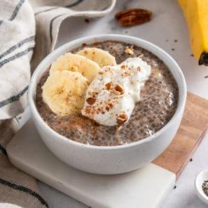 Banana chia seed pudding in bowl.