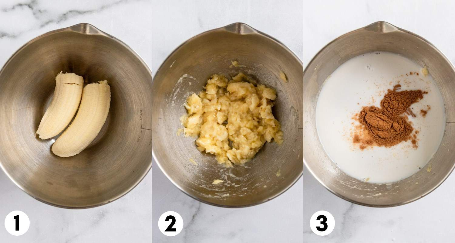 Banana mashed in bowl and milk and cinnamon added to bowl.
