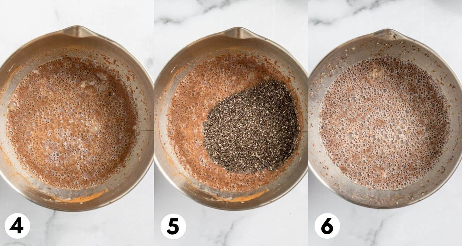 Chia seeds added to mixing bowl and stirred.