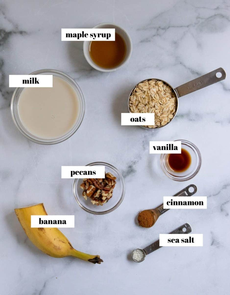 Ingredients in banana oats labeled.