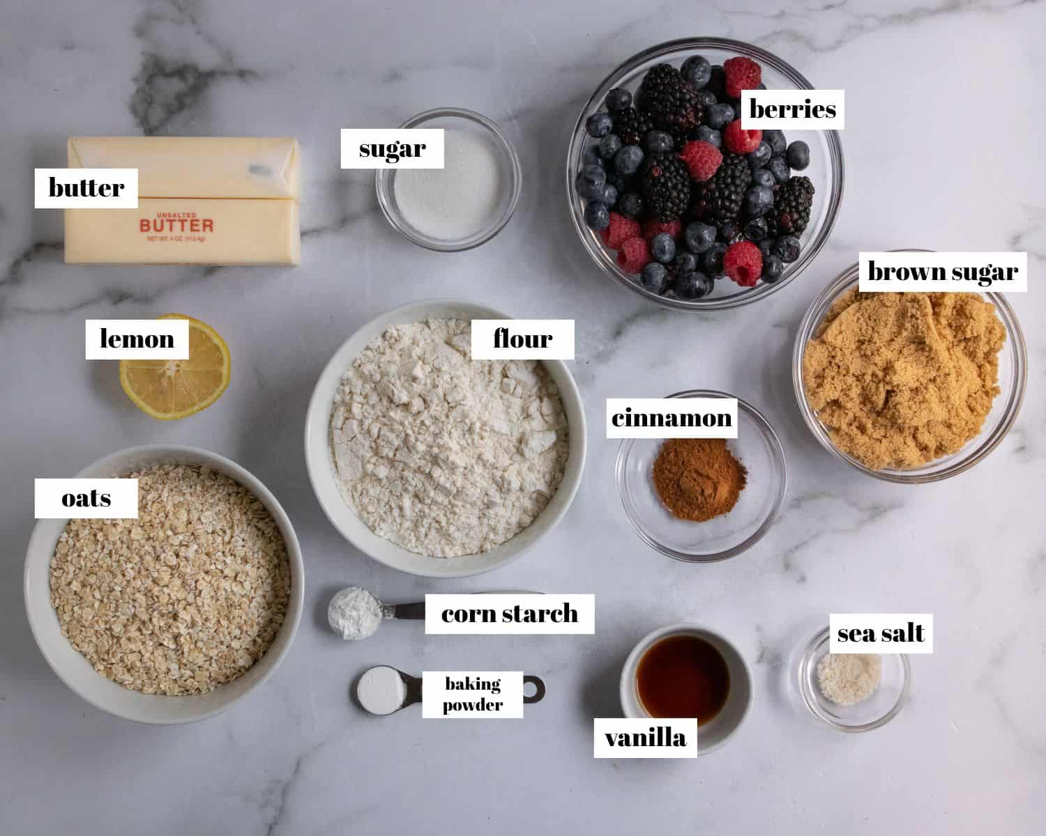 Ingredients labeled on white counter top.