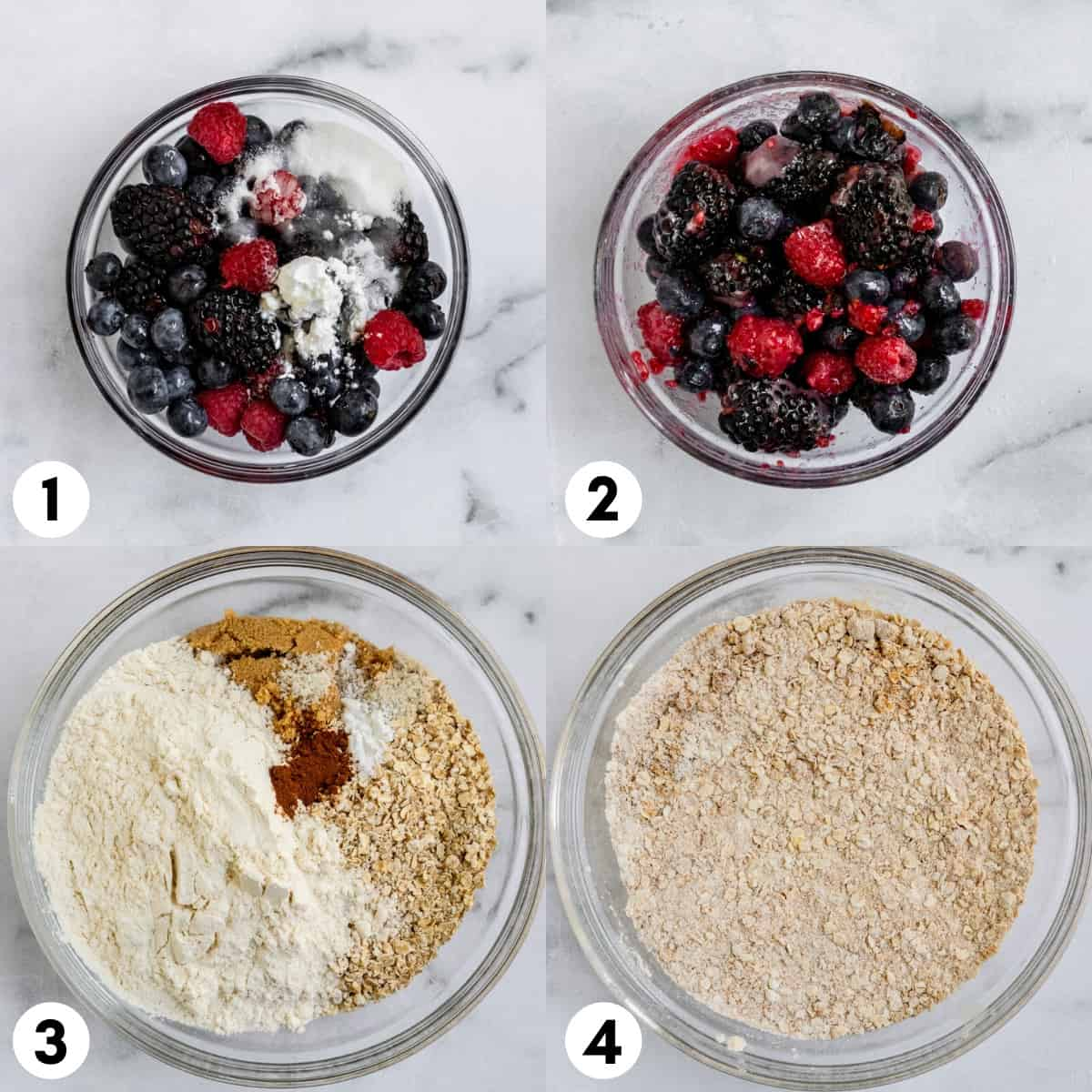 Berries and sugar in bowl and oats and flour in another.