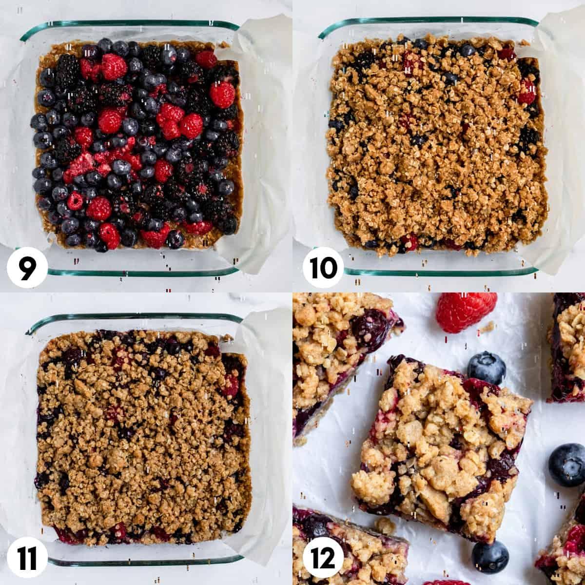 Berry mixture on top of oat mixture in baking pan.
