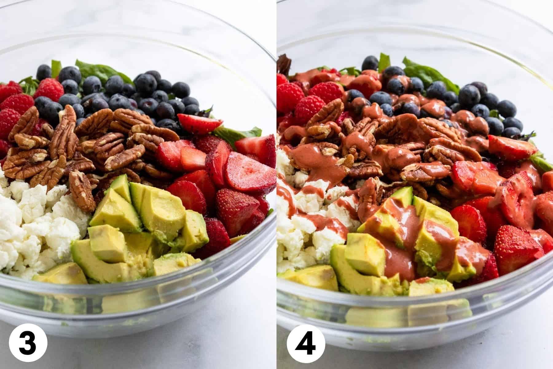 Salad ingredients in mixing bowl.