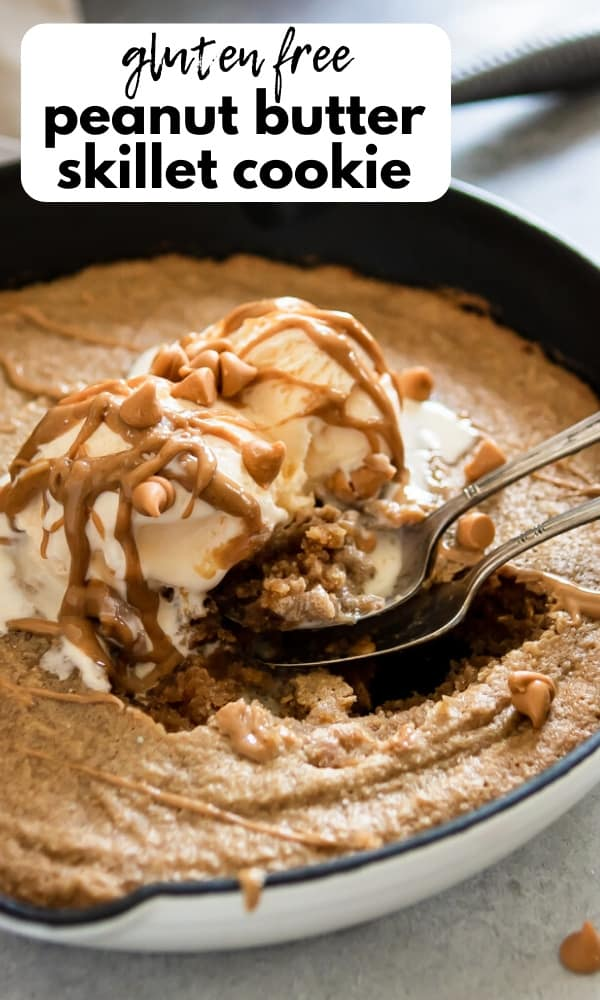 Peanut Butter Skillet Cookie with vanilla ice cream.