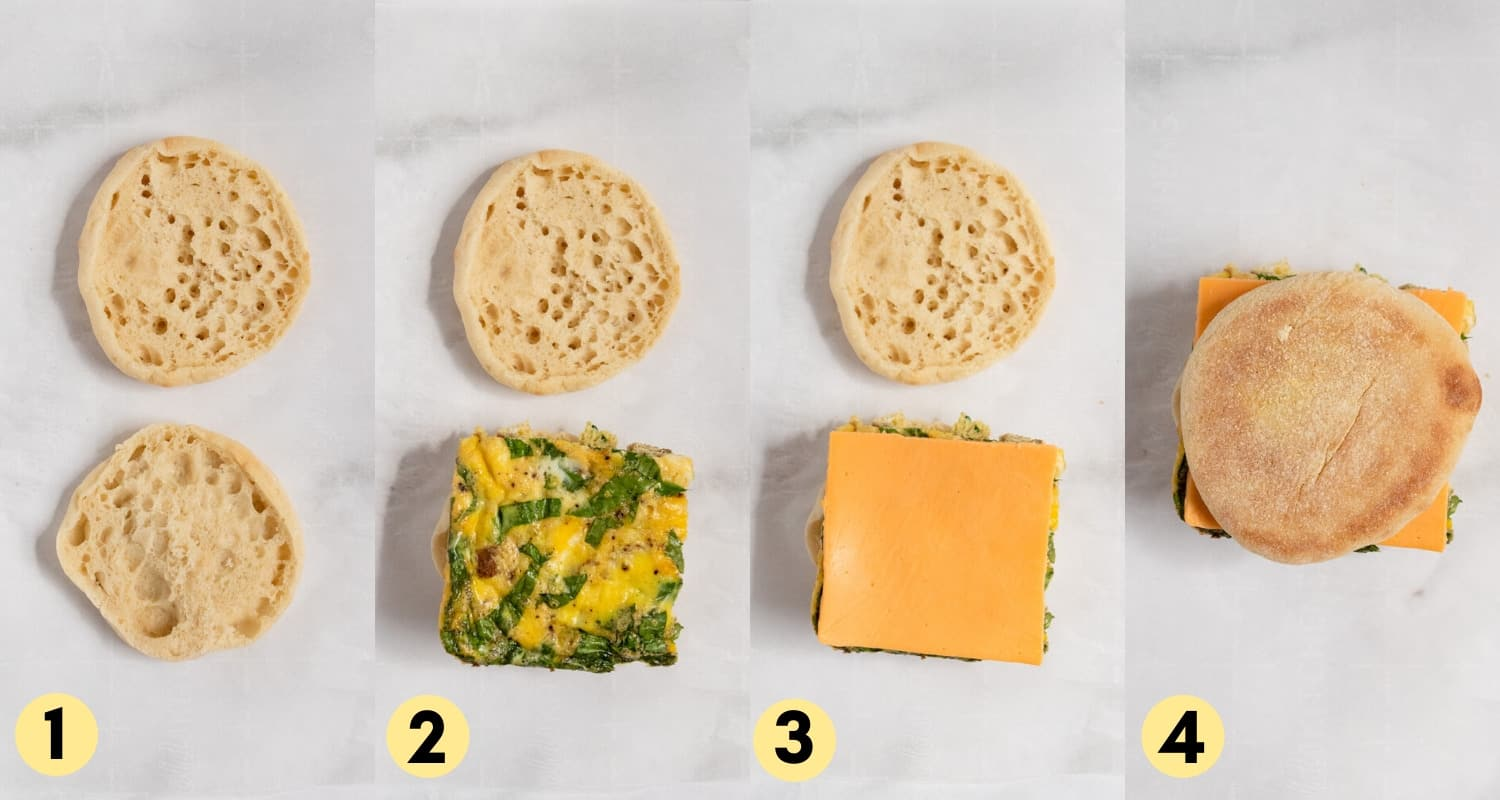 steps to assemble sausage breakfast sandwiches.