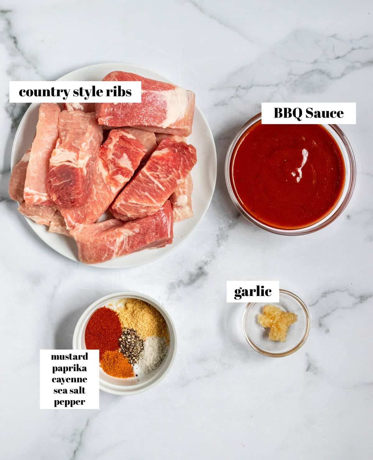 Raw ribs, BBQ sauce, garlic and spices on counter, labeled.