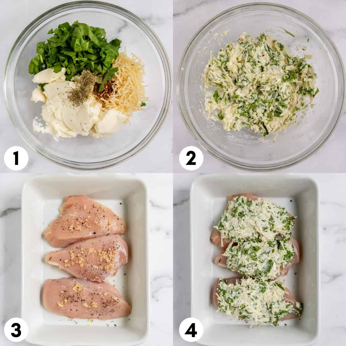 Ricotta, spinach and ingredients in bowl and then spread on chicken in in pan.