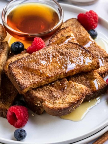 French Toast sticks with maple and berries.