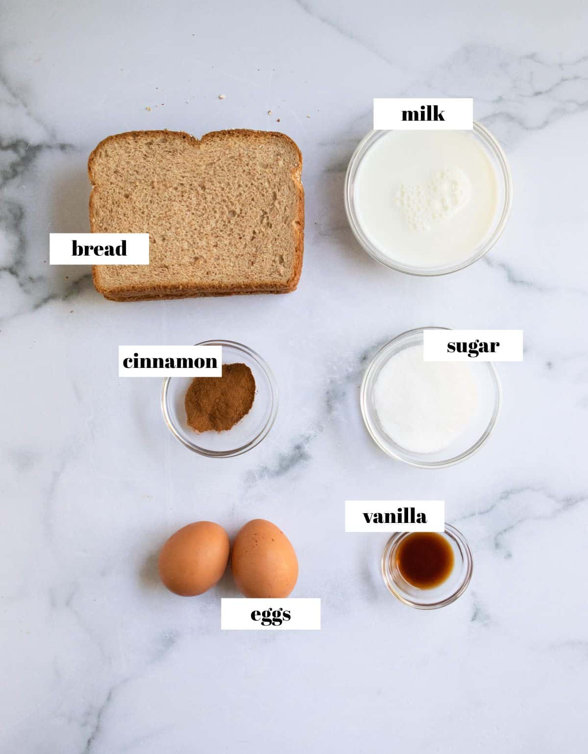 Bread, eggs, vanilla, sugar and cinnamon labeled on white