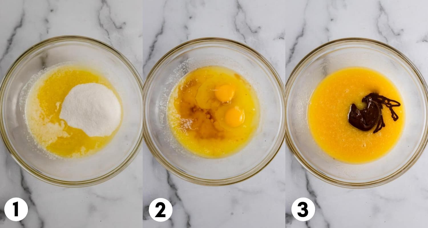 Butter, sugar, eggs and chocolate in mixing bowl.