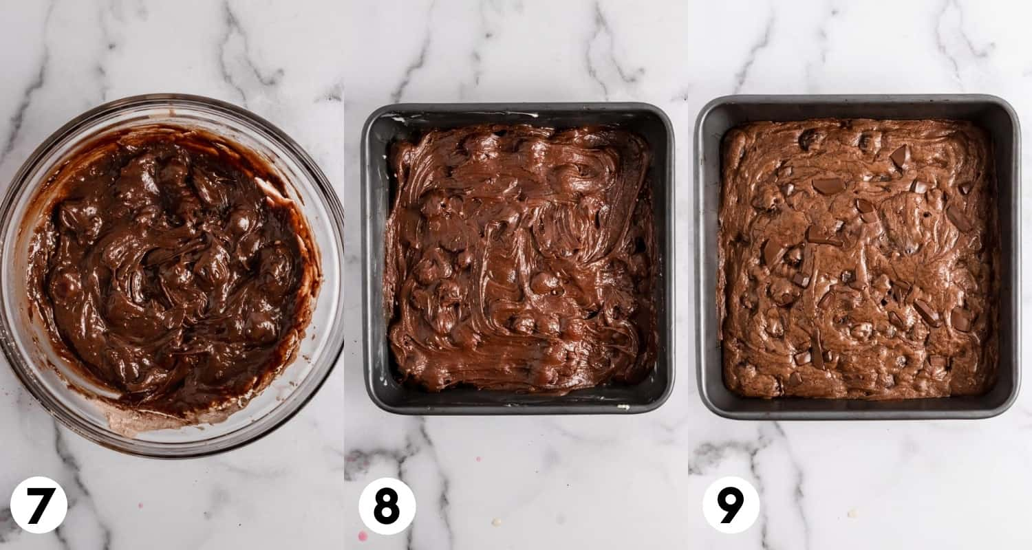 Brownie batter in pan and baked in pan.