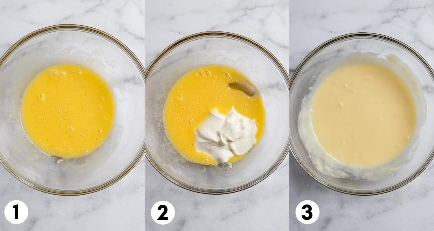 Butter, egg and sour cream mixed in mixing bowl.