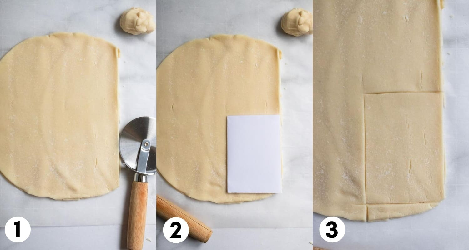 Rolled pie crust with pizza cutter.