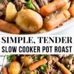 Pot Roast with carrot and potatoes on platter.