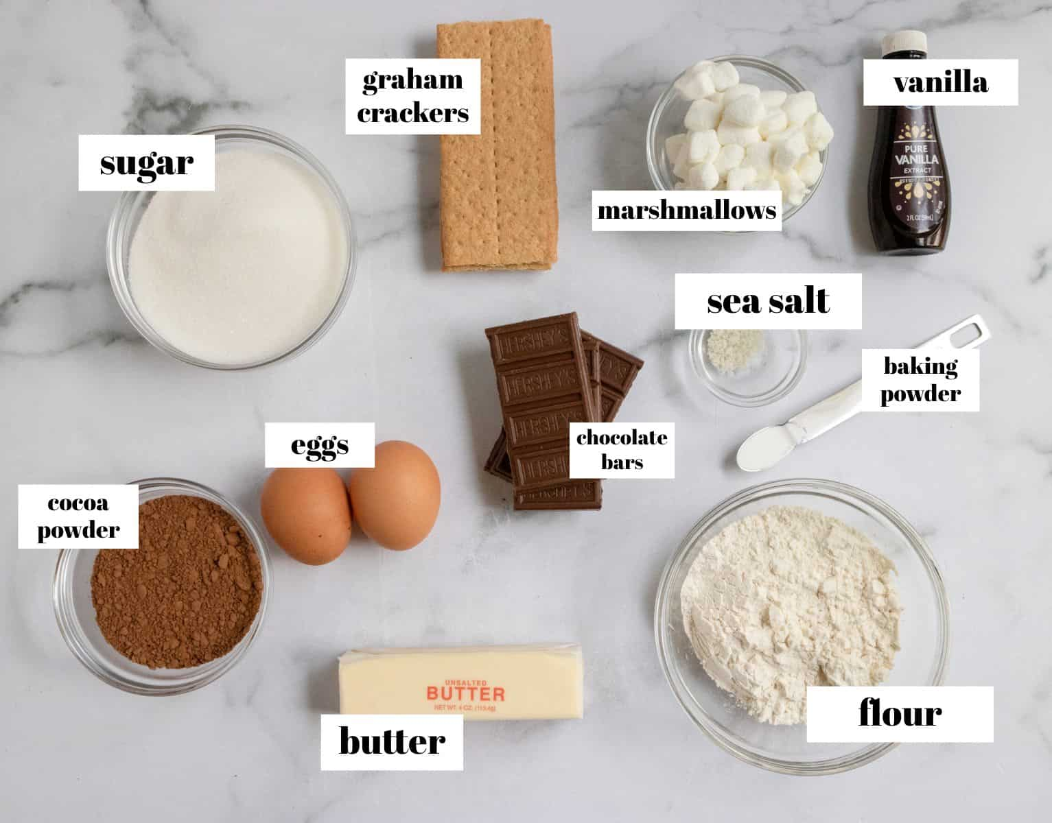 Ingredients to make recipe labeled on counter.