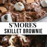 S'mores brownie skillet with ice cream.