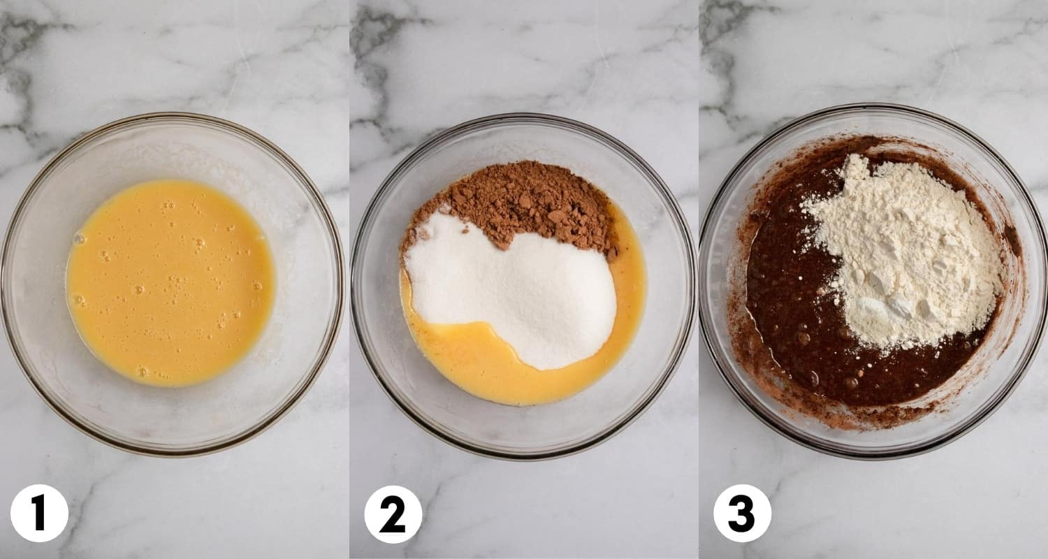 Butter eggs, cocoa and flour mixed in a mixing bowl.