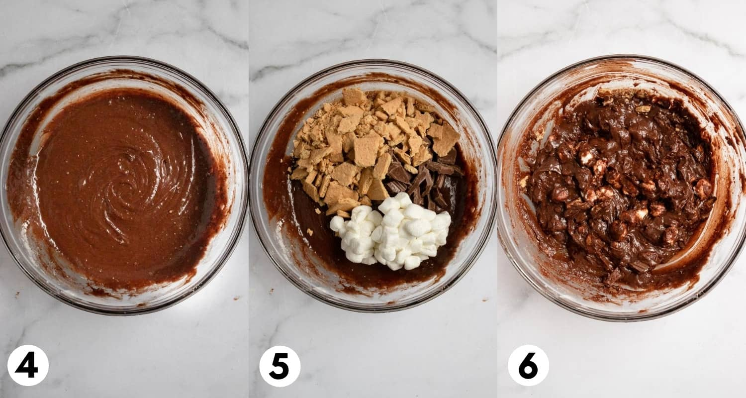 Brownie batter with graham crackers, marshmallows and chocolate bars.