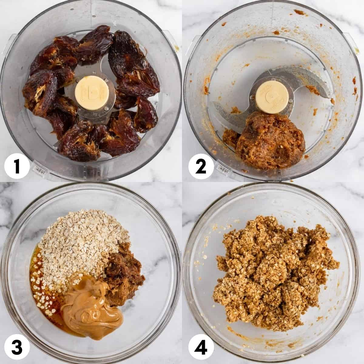 Dates processed in a food processor and mixed in with oats and peanut butter in bowl.