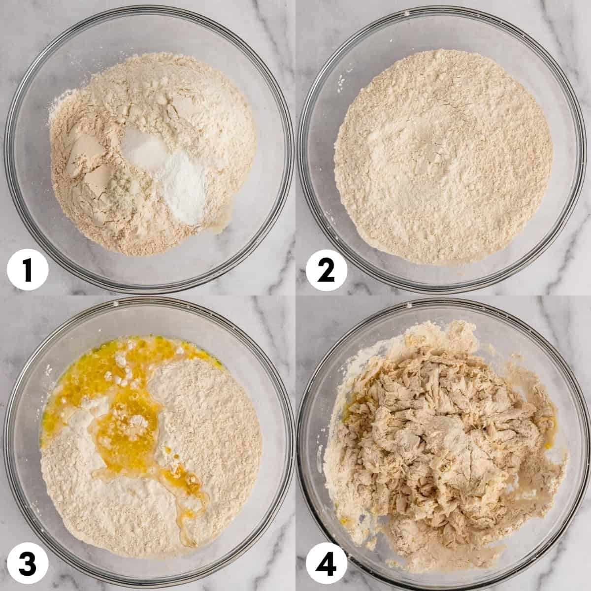 Flour, water and olive oil in bowl.