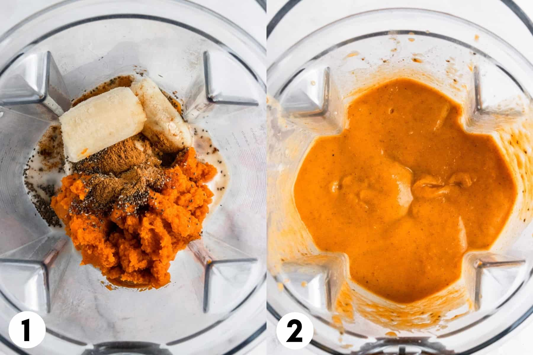 Ingredients in blender before and after blending.