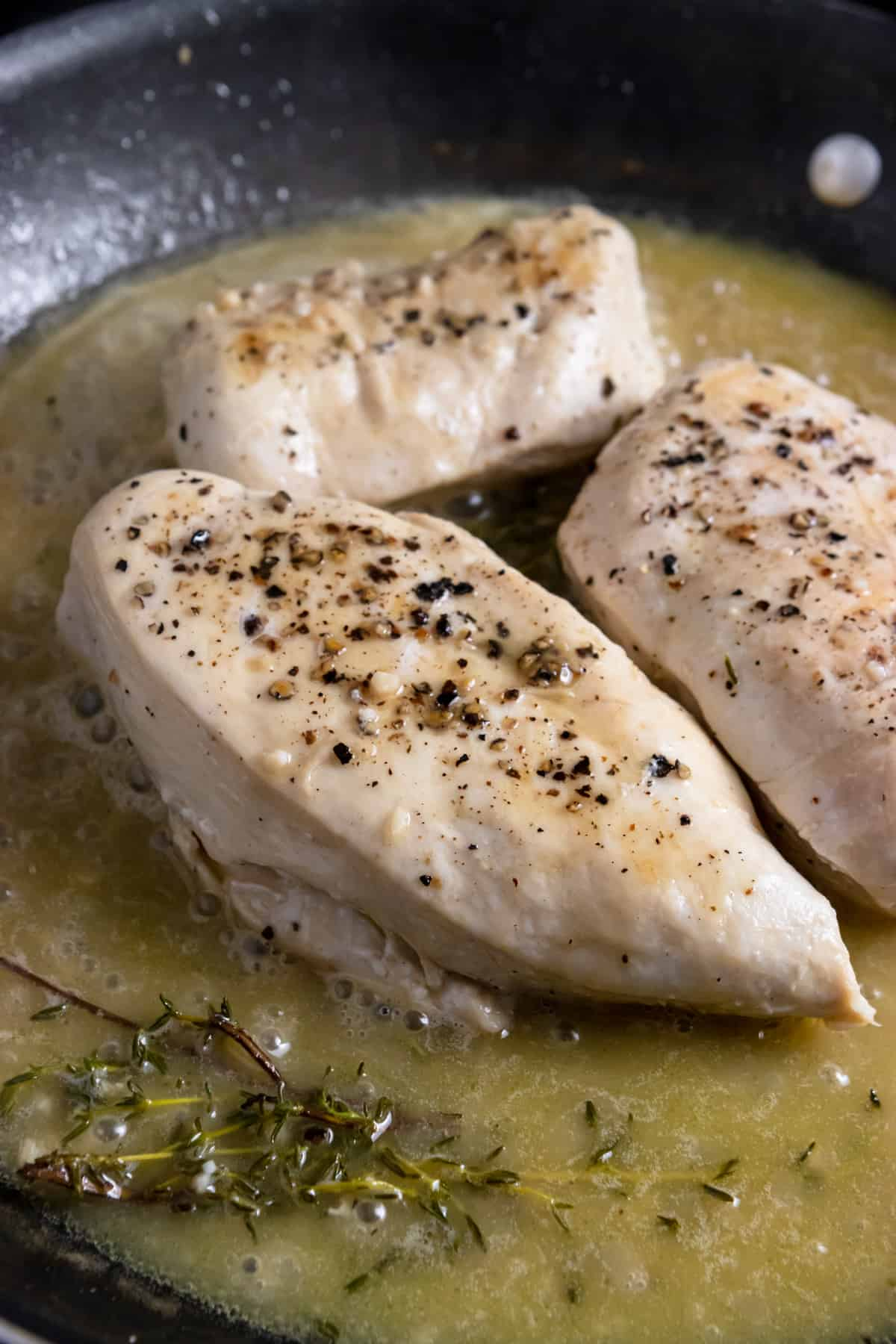 Pan seared chicken in skillet with white wine, thyme and butter.