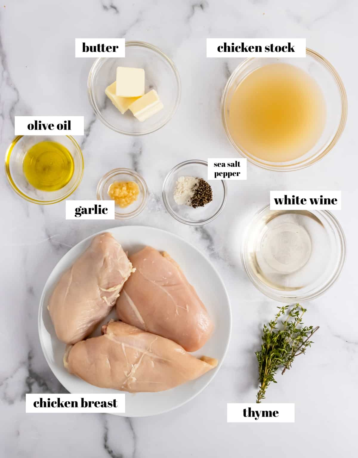 Chicken, wine, butter, thyme and labeled ingredients for recipe.
