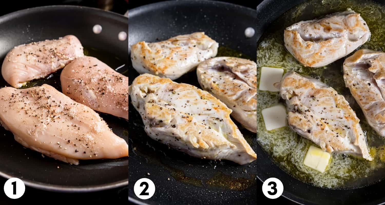 Raw chicken in skillet, flipped chicken in skillet, butter added.