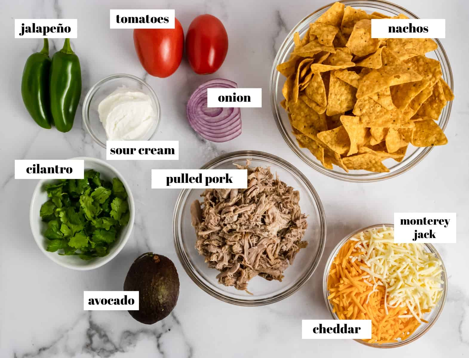 Labeled Nacho Ingredients on counter labeled.