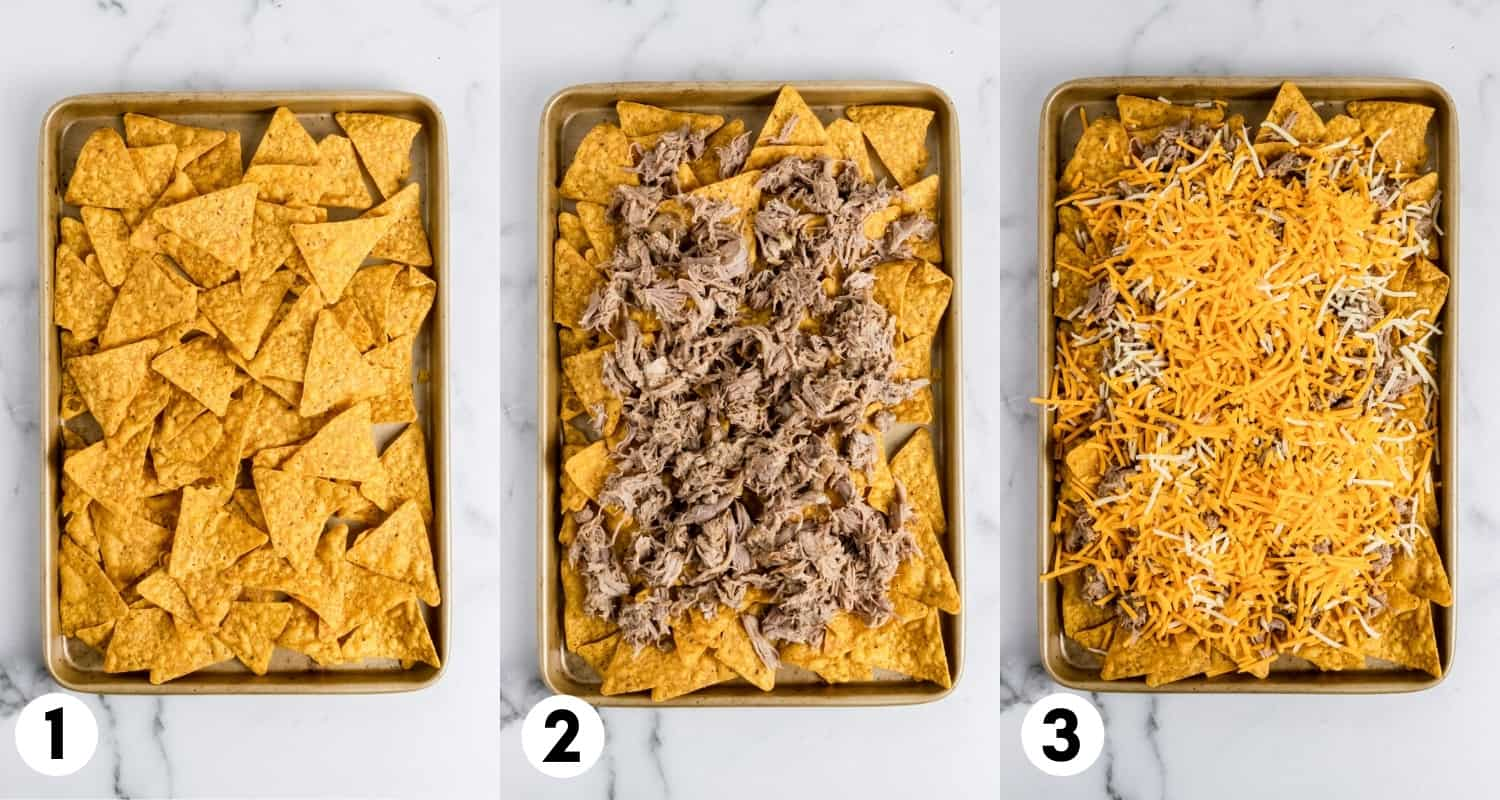 Nachos on sheet pan with pork and cheese.