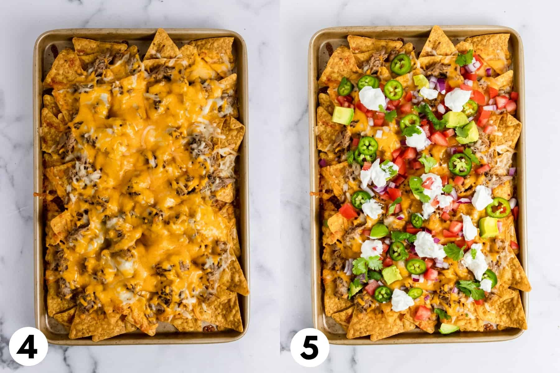 Cooked nachos with toppings on sheet pan.