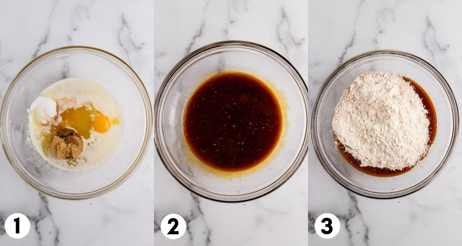 Butter, egg, sugar, molasses and ingredients in mixing bowl.