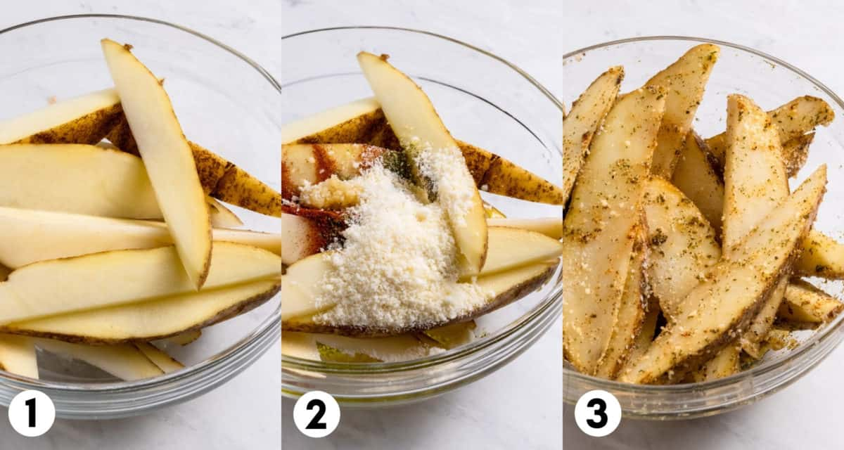 Potato wedges in mixing bowl with parmesan and seasonings.
