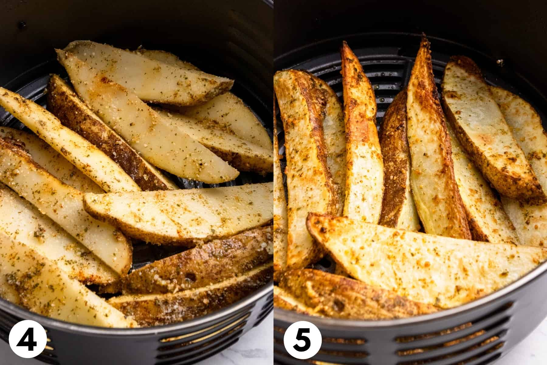Potato wedges in air fryer.