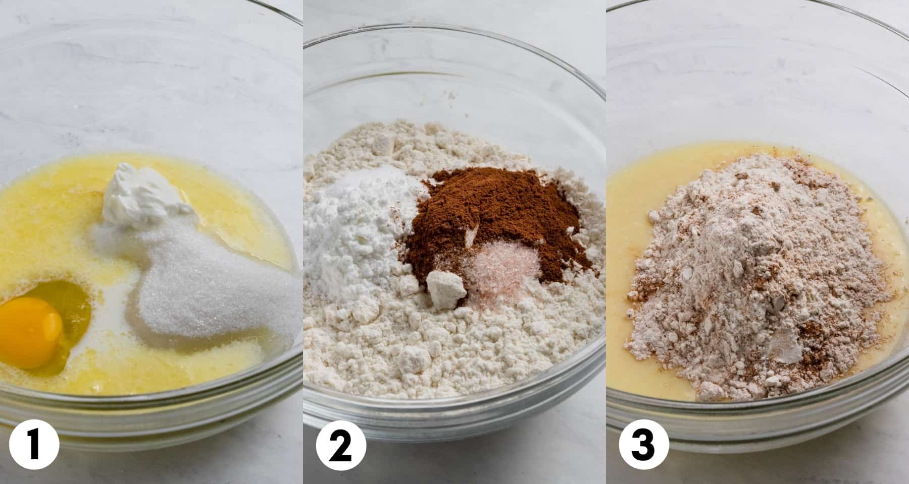Eggs, sugar and ingredients in mixing bowl