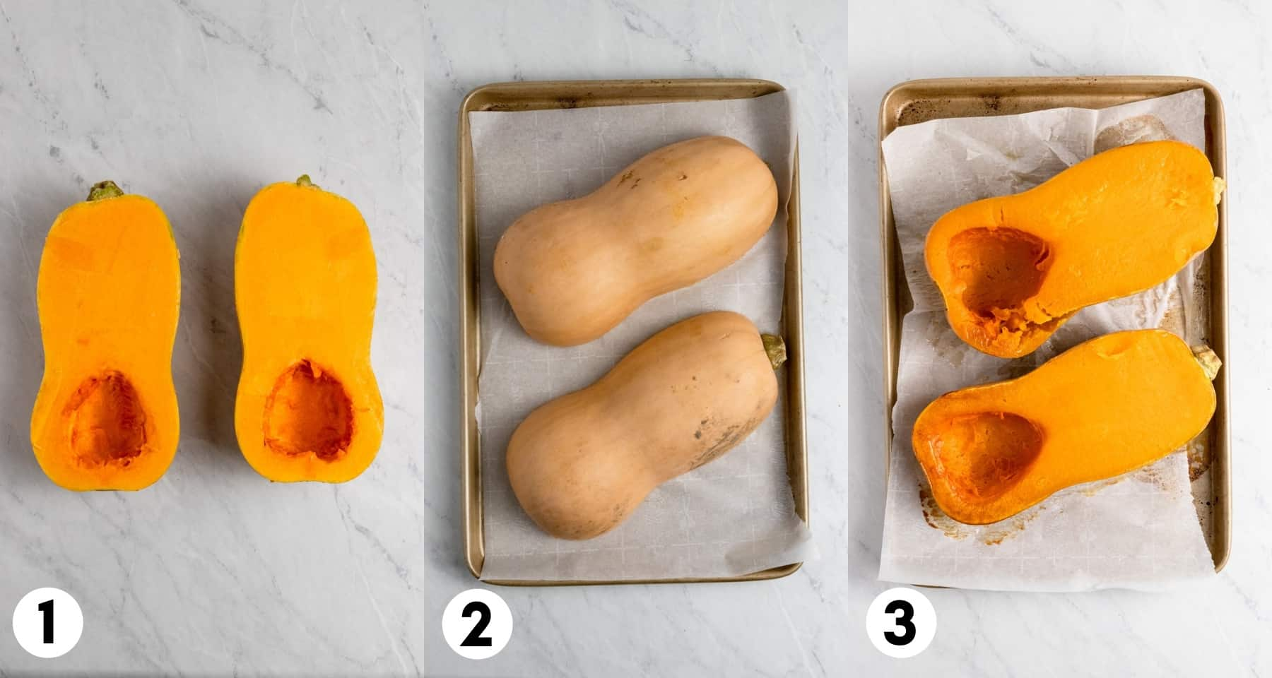 Butternut squash prepped to roast and then roasted.