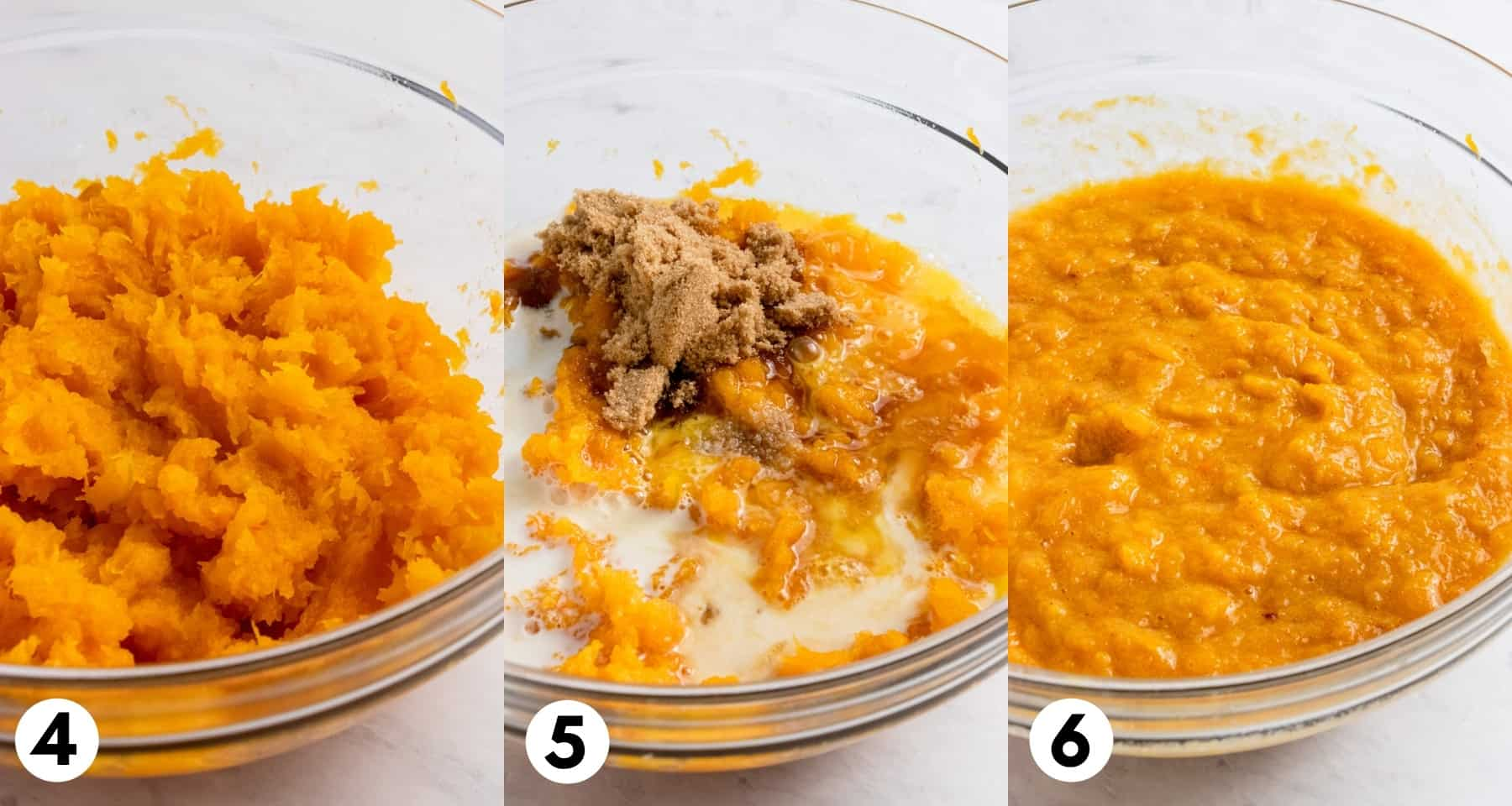 Mashed squash and ingredients mixed together in bowl.
